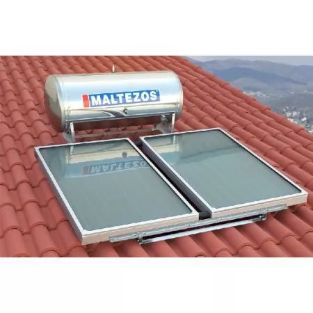 MALTEZOS  MALT H R 160Lt INOX, Διπλης Ενεργειας,2 Επιλεκτικοι Συλλεκτες SAC 90x150,Κεραμοσκεπης