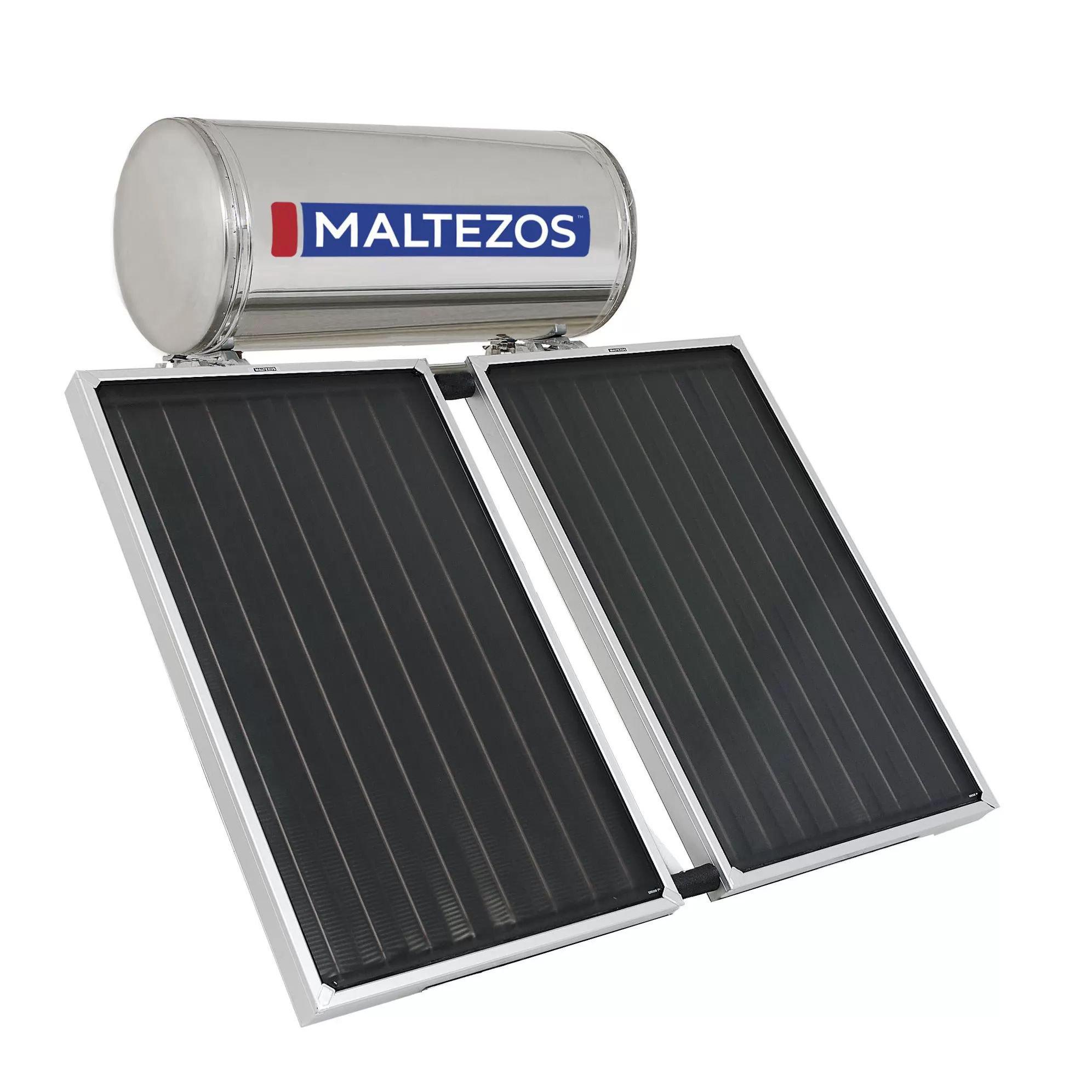MALTEZOS MALT H 160Lt  INOX Τριπλής Ενεργείας, 2 Επιλεκτικοί Συλλέκτες SAC 90X150 (2.7τμ)