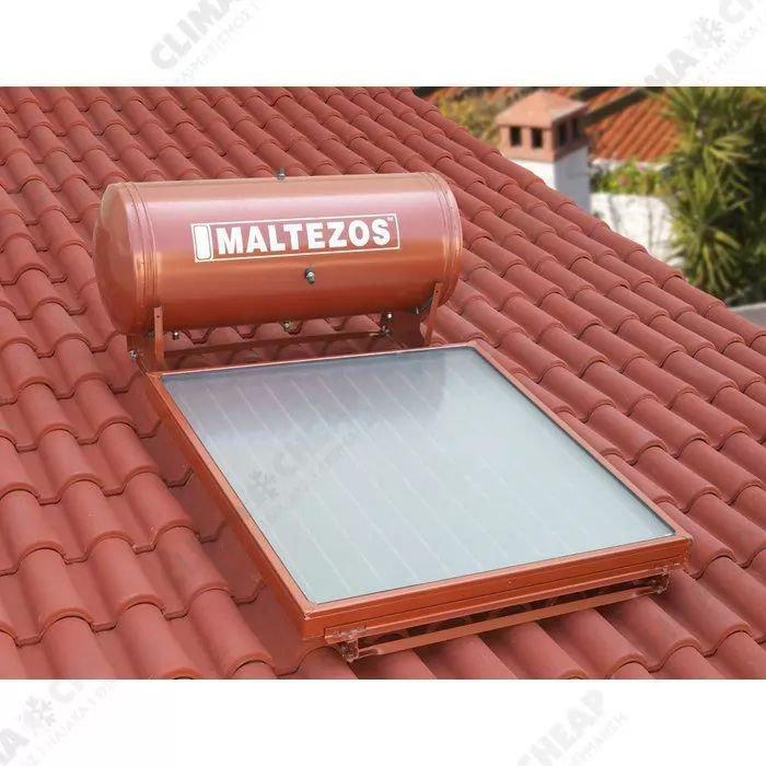 MALTEZOS MALT H R 125 Lt  INOX Διπλής ενεργείας, Επιλεκτικός Συλλέκτης SAC 100x150, Κεραμοσκεπης