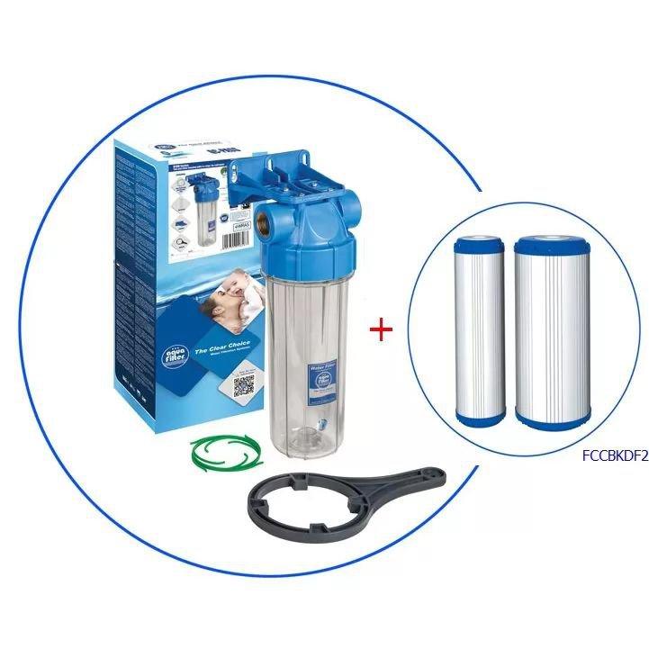 Φιλτροθήκη 10'' Aqua Filter FHPR-HP1 1/2″ με φιλτρο FCCBKDF2 5μm